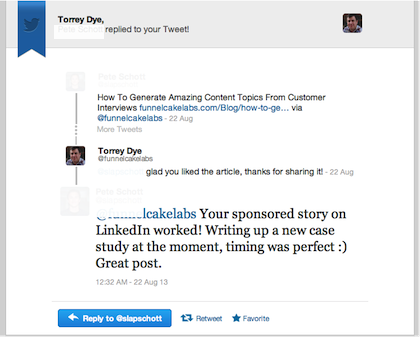 LinkedIn Sponsored Updates Twitter Conversation