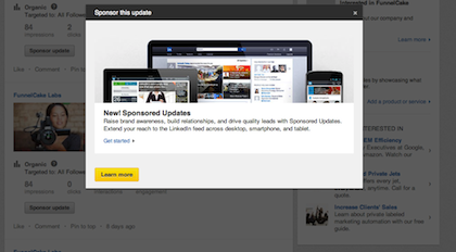 LinkedIn Sponsored Updates Pop-up