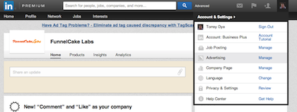 LinkedIn Sponsored Updates Start 2nd Option