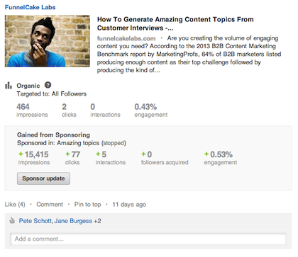 LinkedIn Sponsored Updates Results Campaign 2